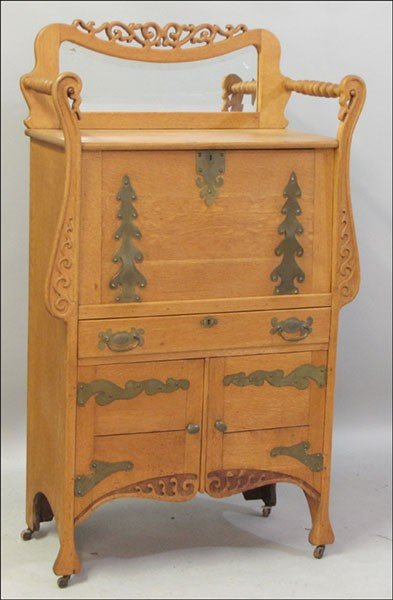 991013: CARVED OAK FALL-FRONT SECRETAIRE.