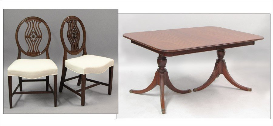 991015: MAHOGANY DOUBLE-PEDESTAL EXTENSION DINING TABLE