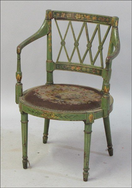 991022: ADAM STYLE PAINTED ARMCHAIR.