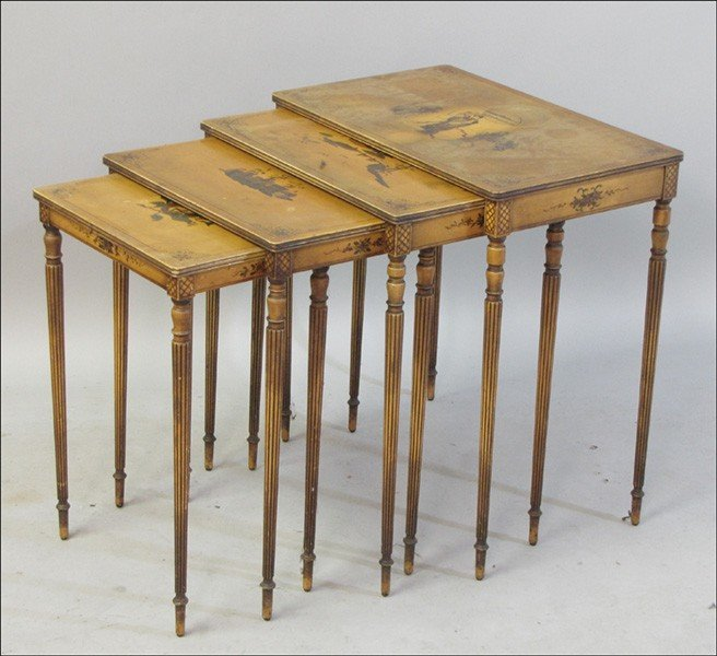 991023: NEST OF FOUR CHINOISERIE STYLE TABLES.