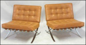 PAIR OF BARCELONA STYLE CHAIRS.