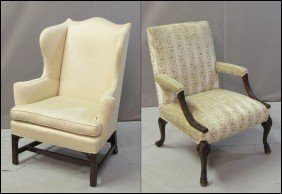 GEORGE III STYLE OPEN ARM CHAIR.