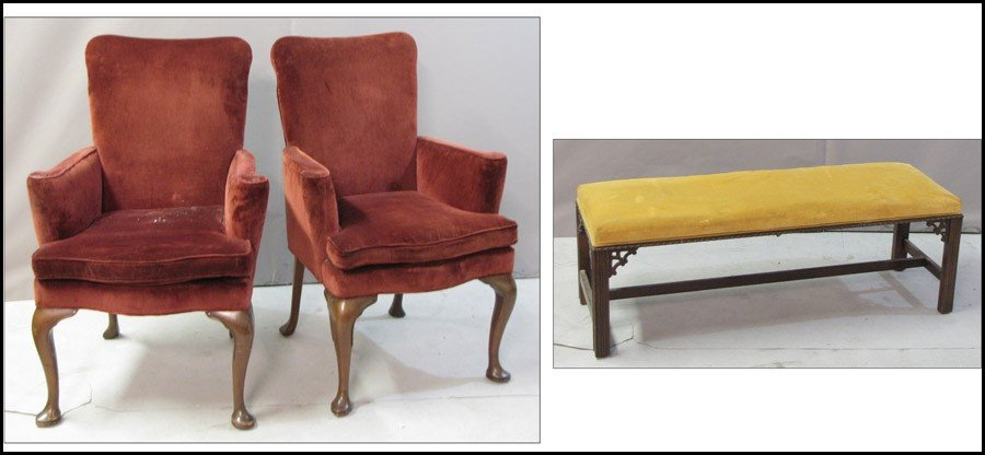 991061: PAIR OF UPHOLSTERED CHAIRS.
