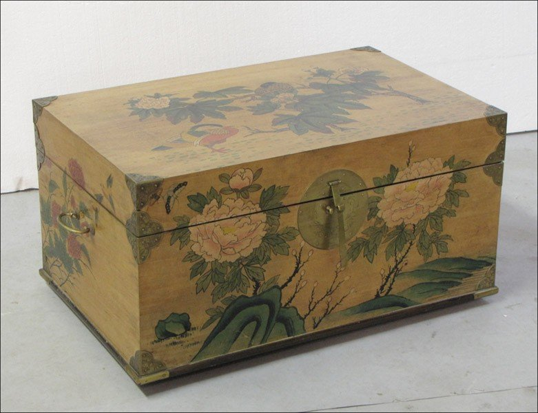 991071: BRASS BOUND CHINOISERIE STYLE TRUNK.