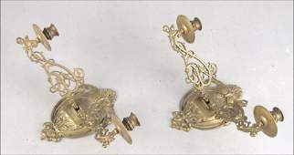 992071 PAIR OF ART NOUVEAU BRASS TWO LIGHT WALL SCONCE