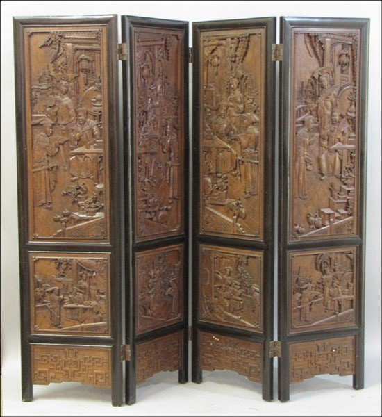 1011011: CHINESE RELIEF CARVED FOUR-PANEL FLOOR SCREEN.