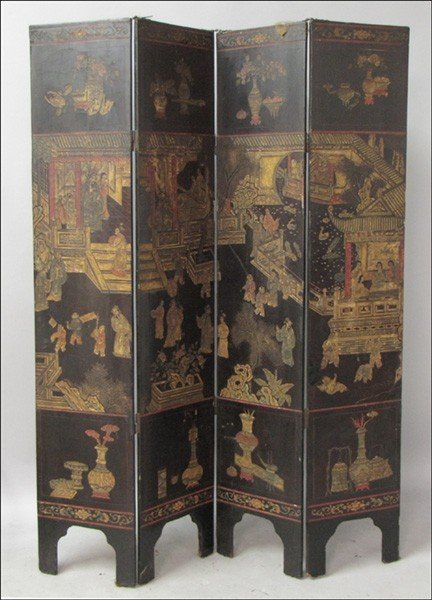 1011022: CHINESE FOUR-PANEL FLOOR SCREEN.