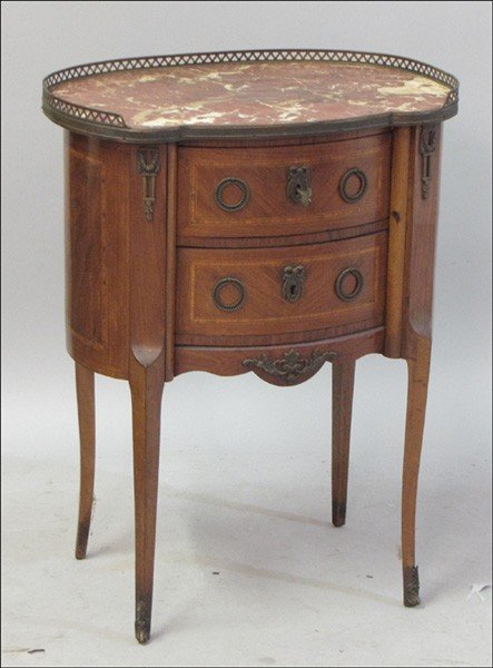 1011024: LOUIS XVI STYLE PARQUETRY INLAID KIDNEY SHAPED