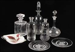 1012121: FIVE GLASS DECANTERS.