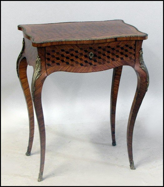 1031015: MARQUETRY INLAID LIFT TOP VANITY.
