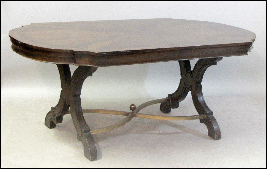 1031019: MAHOGANY VENEER AND BRASS DINING TABLE.