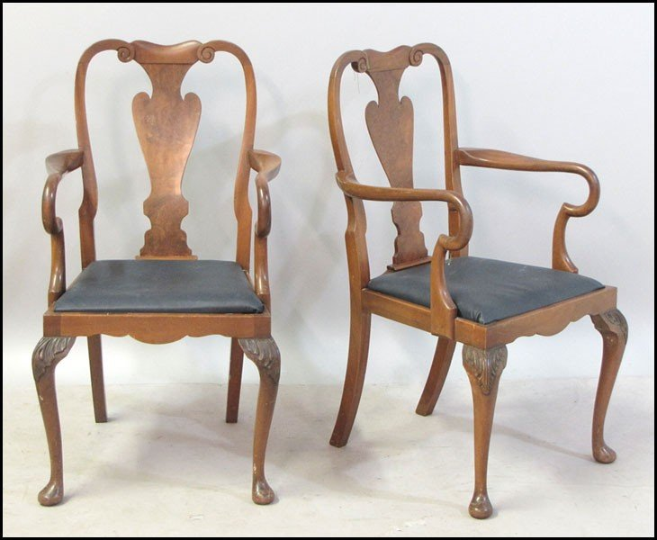 1031022: PAIR OF ENGLISH QUEEN ANNE STYLE CARVED WALNUT