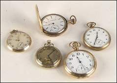 1037039 GROUP OF FIVE GOLDFILLED POCKET WATCHES