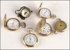 1037051 FIVE LADIES GOLD FILLED POCKET  WATCHES