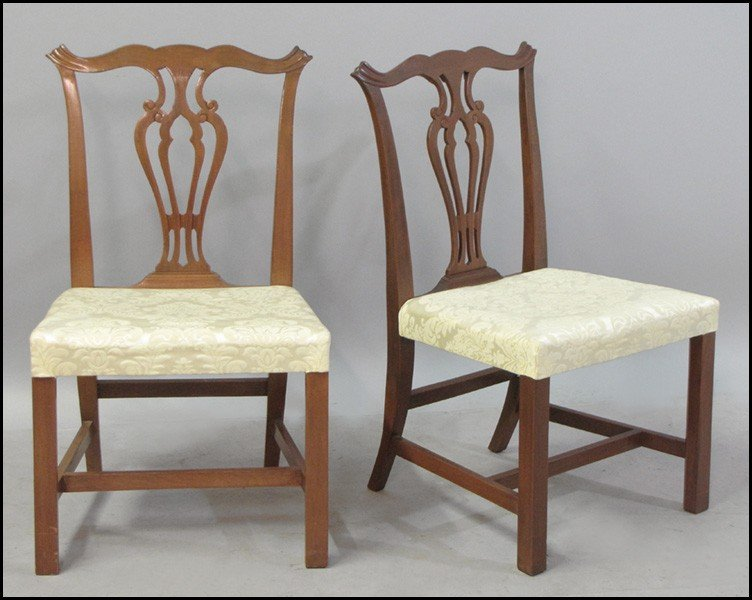 1041011: SET OF SIX CHIPPENDALE STYLE CARVED MAHOGANY S