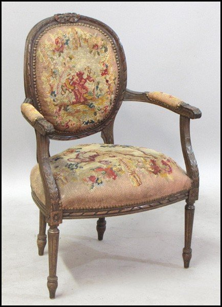 1041012: FRENCH CARVED WALNUT AND NEEDLEPOINT UPHOLSTER