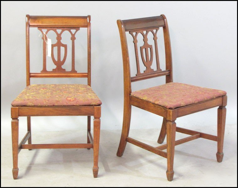 1041016: SET OF FOUR ENGLISH MAHOGANY DINING CHAIRS.