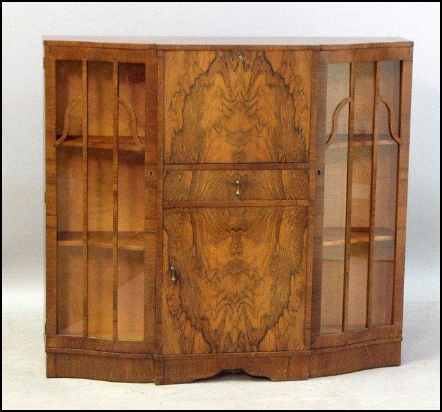 1041020: ENGLISH ART DECO STYLE WALNUT SECRETARY BOOKCA