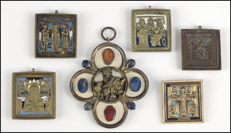 1052011: GROUP OF FIVE MINIATURE ICONS.