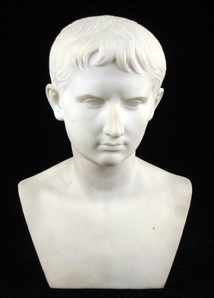 1052012: ITALIAN CARVED MARBLE BUST OF A YOUNG BOY.