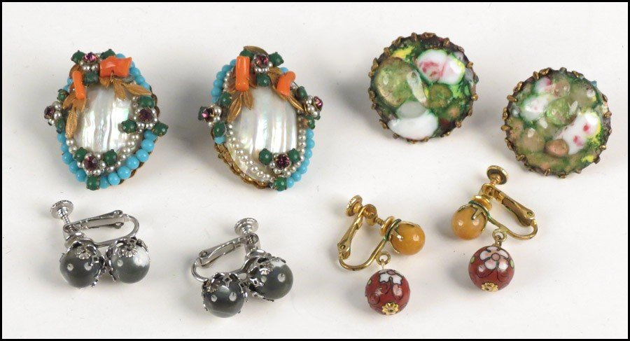 467016: THREE PAIRS OF MIRIAM HASKELL EARCLIPS.