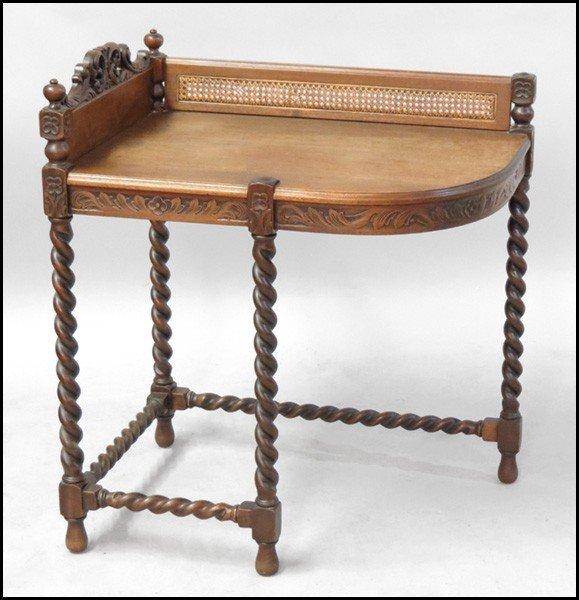 1061001: CARVED MAHOGANY BARLEY TWIST CORNER TABLE.