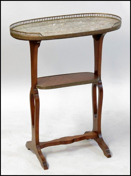 1061002: PARQUETRY & MARBLE TOP TELEPHONE TABLE.