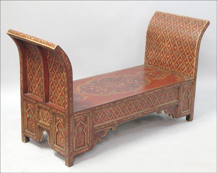 1061003: TIBETAN POLYCHROME PAINTED WOOD WINDOW SEAT.