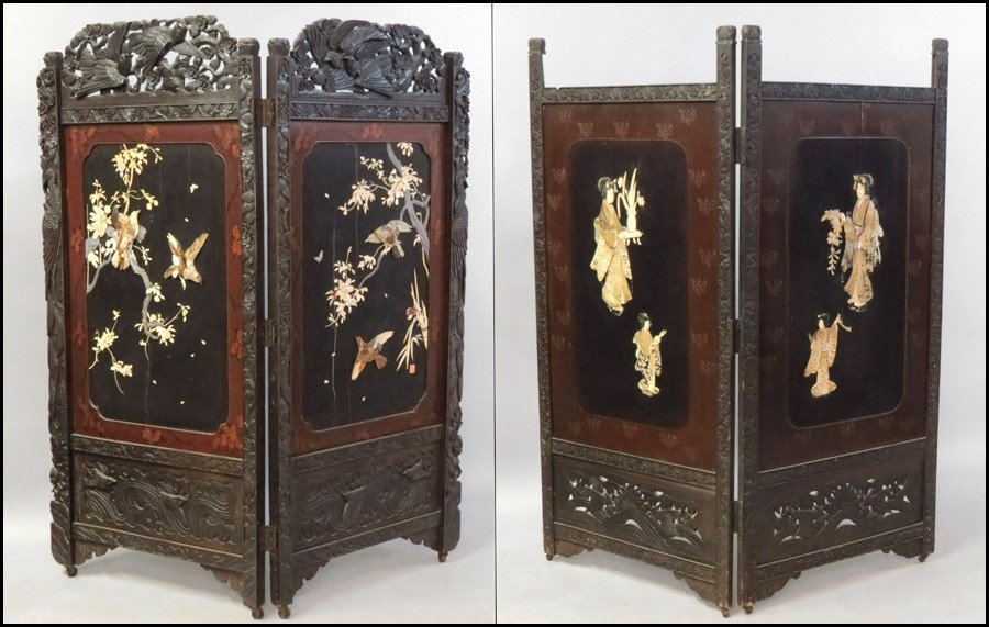1061016: JAPANESE CARVED AND INLAID FLOOR SCREEN.