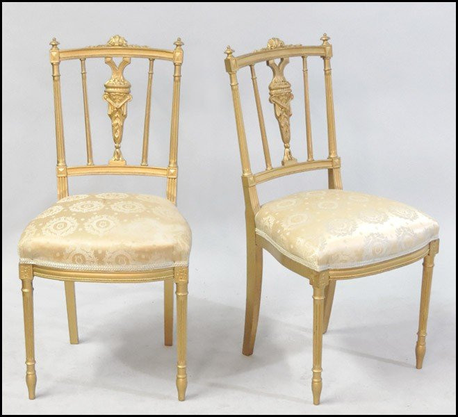 1061019: PAIR OF LOUIS XIV STYLE SIDE CHAIRS.