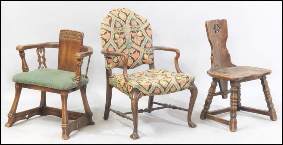 1061021: TWO CARVED OAK ARTS AND CRAFTS CHAIRS.