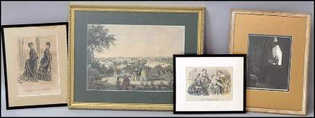 1066205 GROUP OF FOUR FRAMED ASSORTED PRINTS