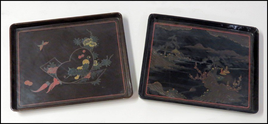 1073141: TWO JAPENSE LACQUERED TRAY.