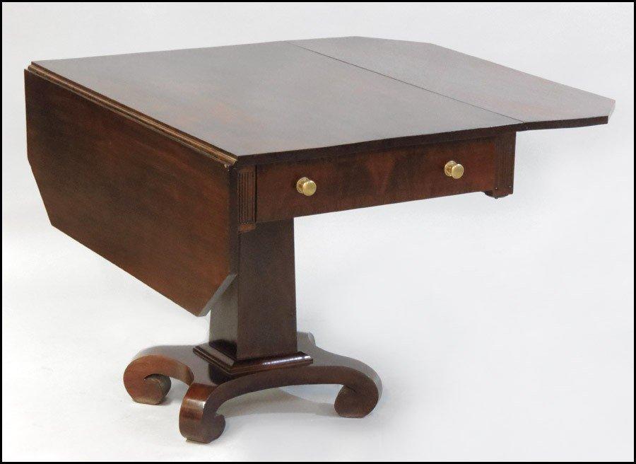 1081001: EMPIRE STYLE MAHOGANY DROP LEAF TABLE.