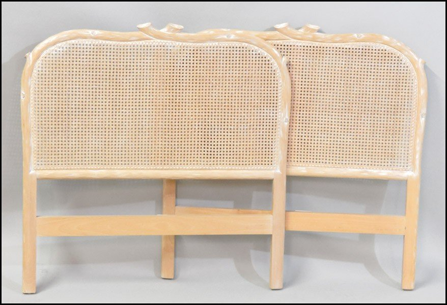 1081010: PAIR OF ITALIAN WHITE WASHED TWIN HEADBOARDS.