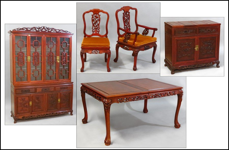 1081011: CHINESE MAHOGANY DINING SUITE.
