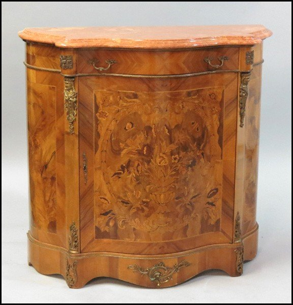 1081018: MARQUETRY AND PARQUETRY INLAID CABINET.