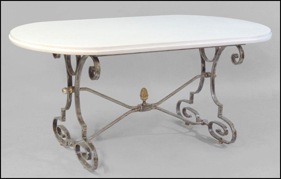 1081024: FRENCH SCROLLED IRON TABLE BASE WITH A MARBLE