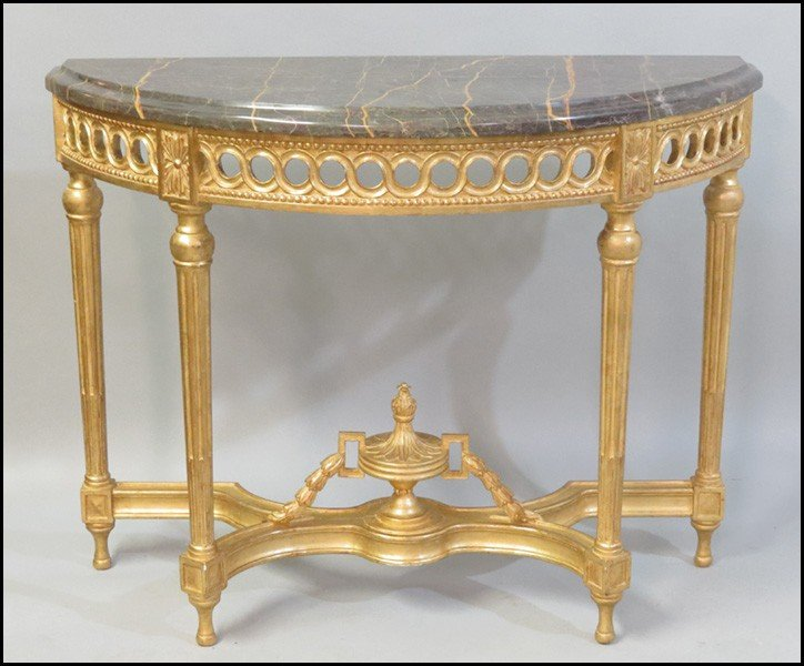 1081037: PAIR OF GILTWOOD DEMILUNE CONSOLE TABLES.