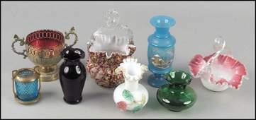 1082122 TWO VICTORIAN SPATTERWARE GLASS BASKETS