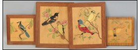 GROUP OF FOUR INLAID WOOD BIRD PLAQUES.