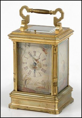 FRENCH GILT BRONZE CARRIAGE CLOCK.