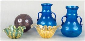 PAIR OF HAND BLOWN GLASS VASES.