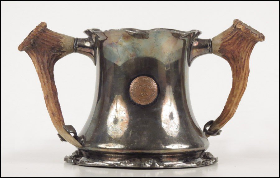 1084014: J.E. CALDWELL SILVERPLATE ANTLER HANDLED CUP.
