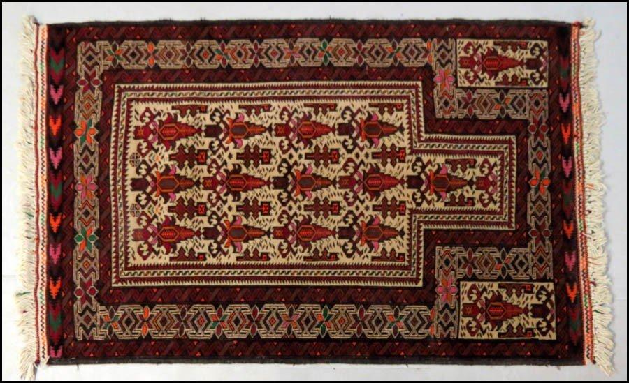 1085001: PERSIAN WOOL PRAYER RUG.