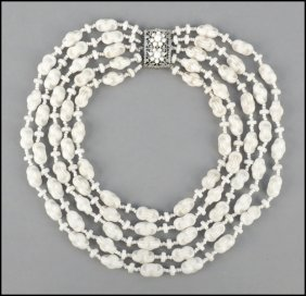 MIRIAM HASKELL FIVE-STRAND NECKLACE.