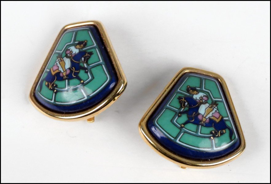487018: PAIR OF HERMES ENAMEL EARCLIPS.