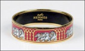 487020: HERMES ENAMEL BRACELET.