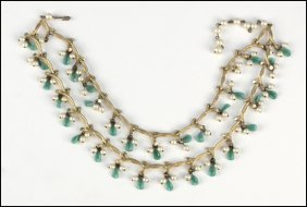 487022: KRAMER TWO-STRAND FAUX PEARL AND GLASS NECKLACE