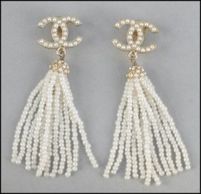 487144: PAIR OF CHANEL FAUX PEARL EARCLIPS.